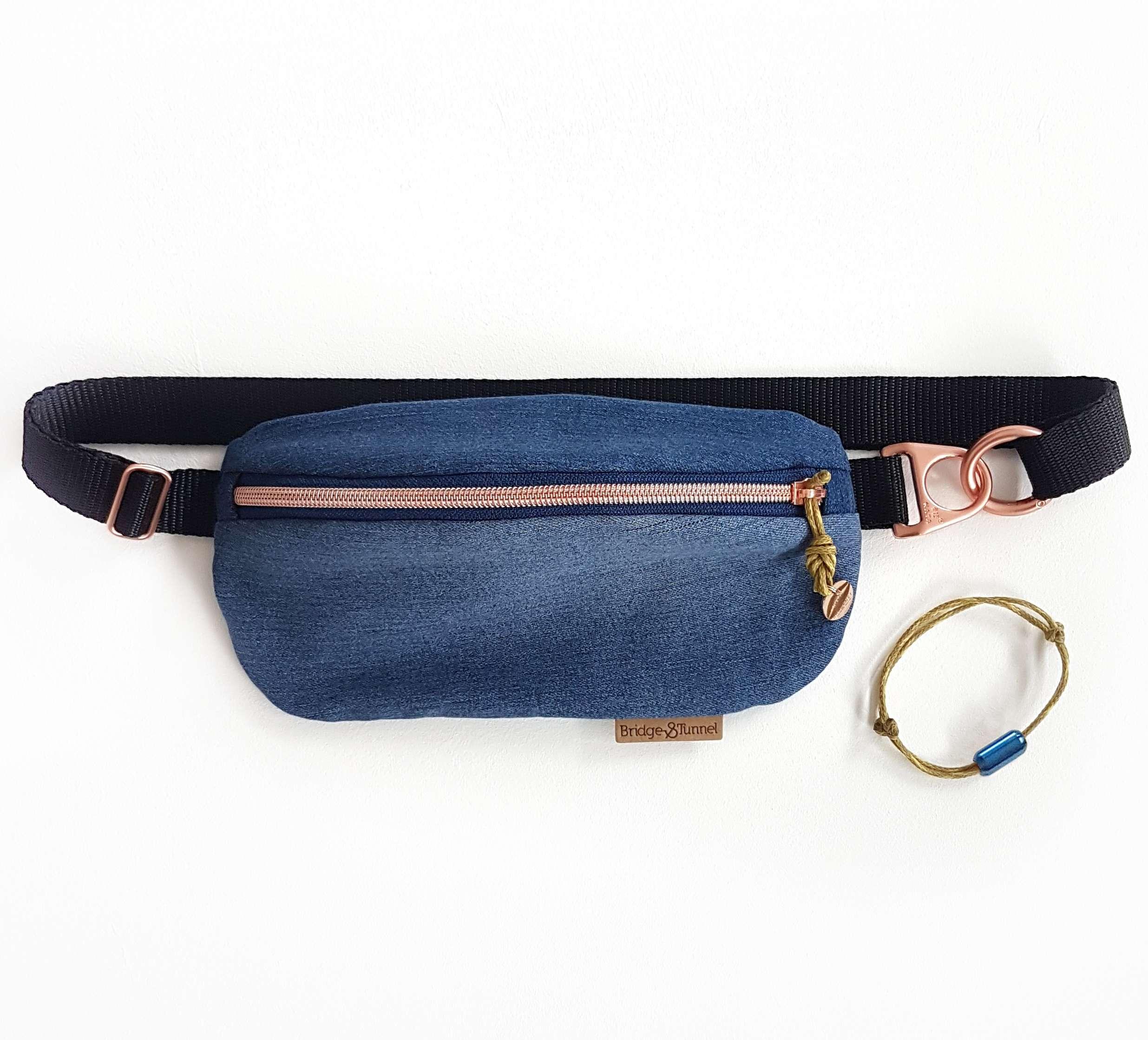 Bracenet Bumbag mit Zipper aus Geisternetz kupfer