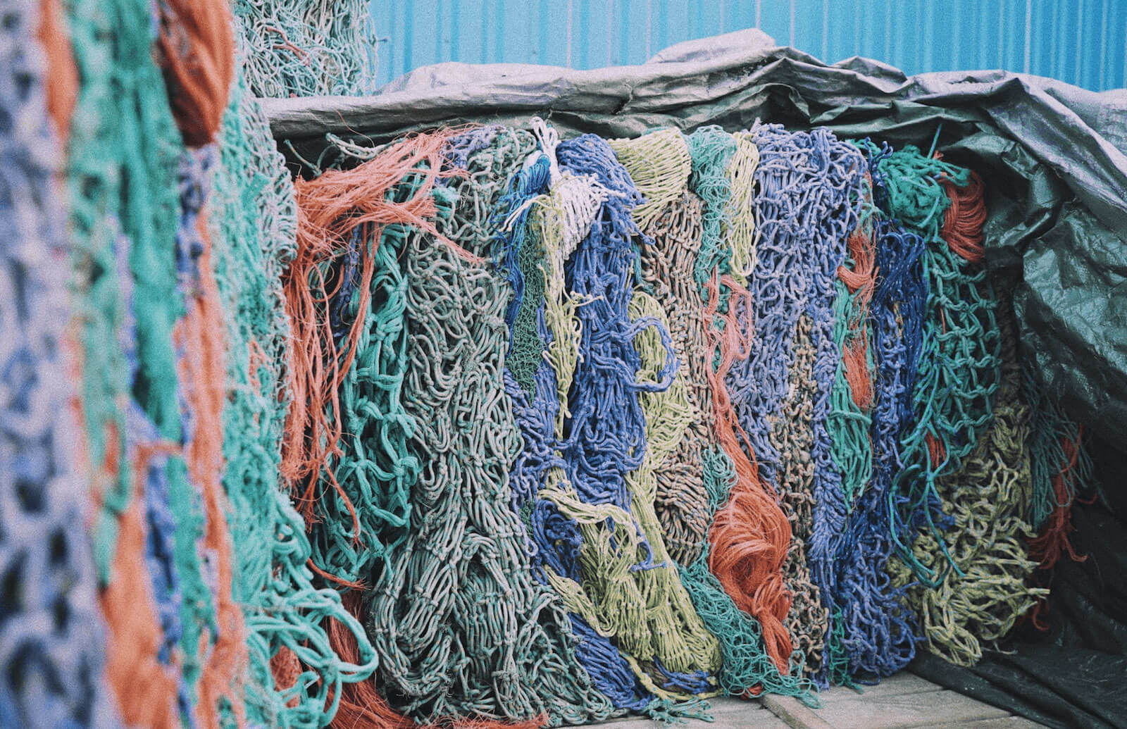a lot of cleaned ghost nets
