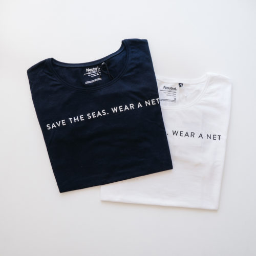Shirt Save the Sea blau und weiß
